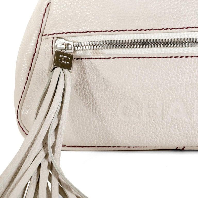 Chanel White Leather Tassel Shoulder Bag For Sale 2