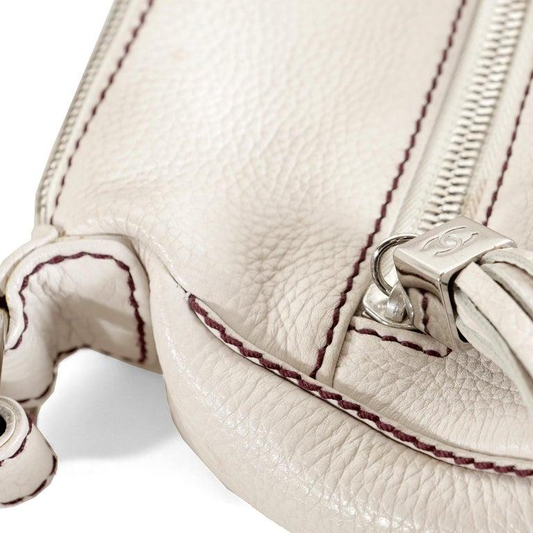 Chanel White Leather Tassel Shoulder Bag For Sale 3
