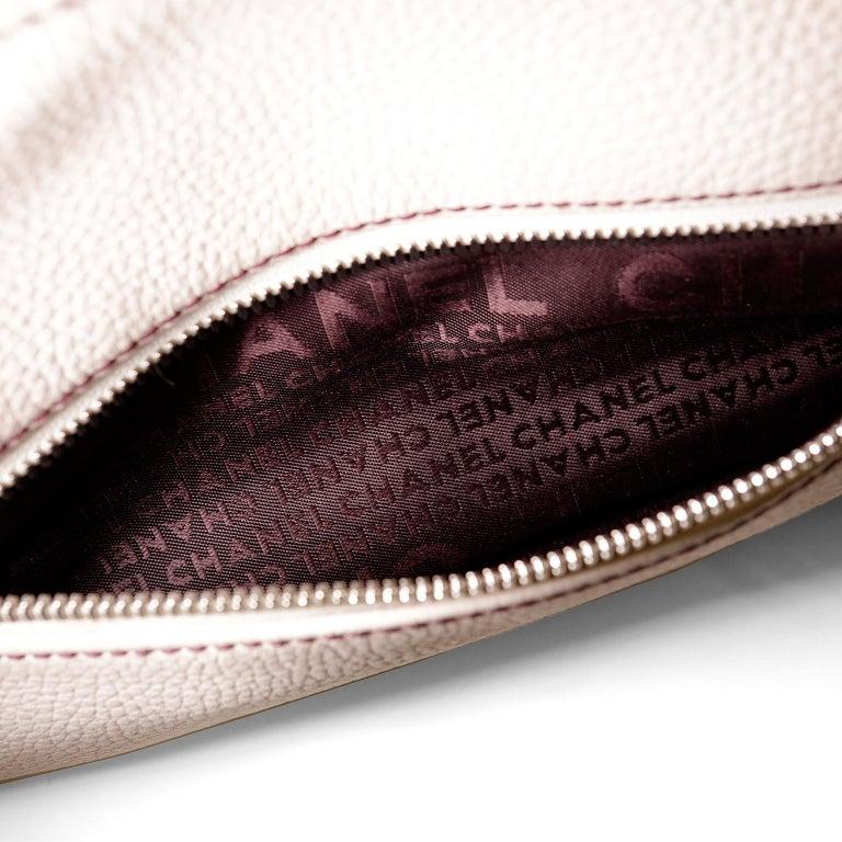 Chanel White Leather Tassel Shoulder Bag For Sale 4