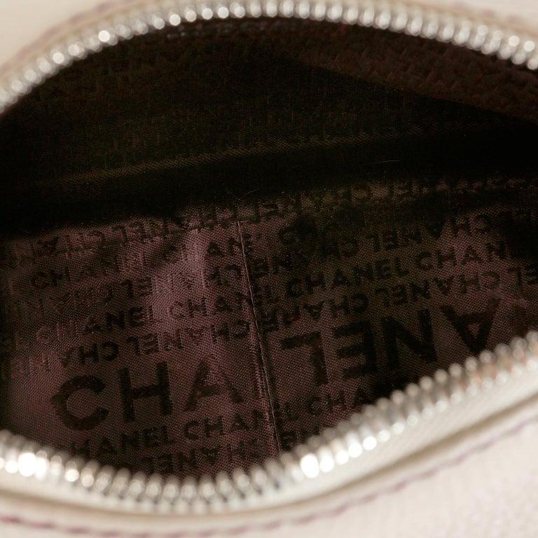 Chanel White Leather Tassel Shoulder Bag For Sale 5