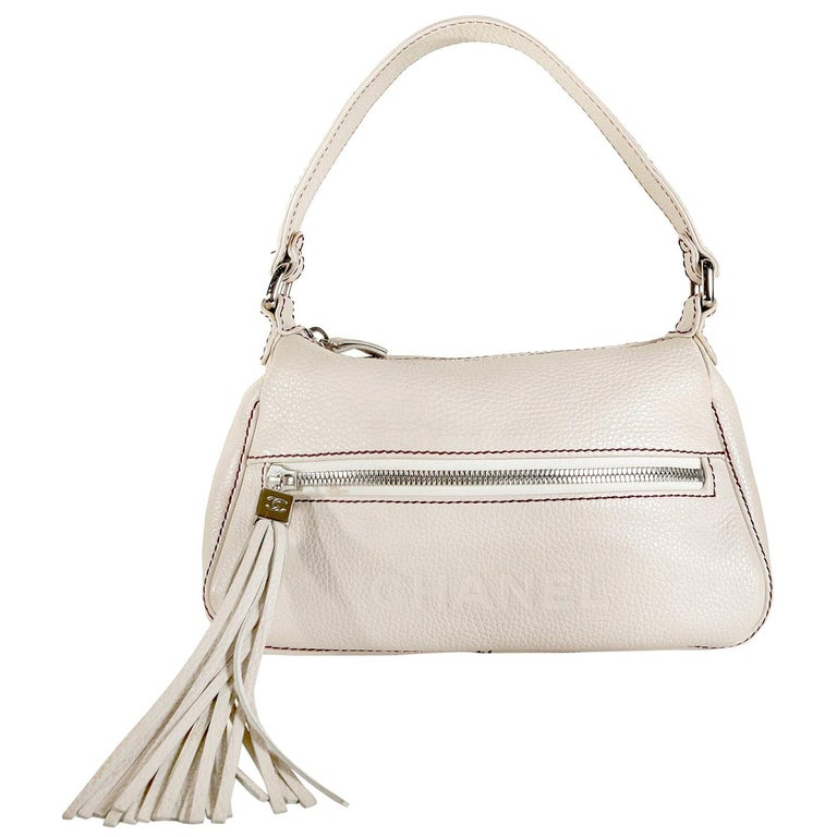 Chanel White Leather Tassel Shoulder Bag For Sale