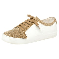 Chanel White Leather/Tweed CC Low Top Sneakers Size 37.5