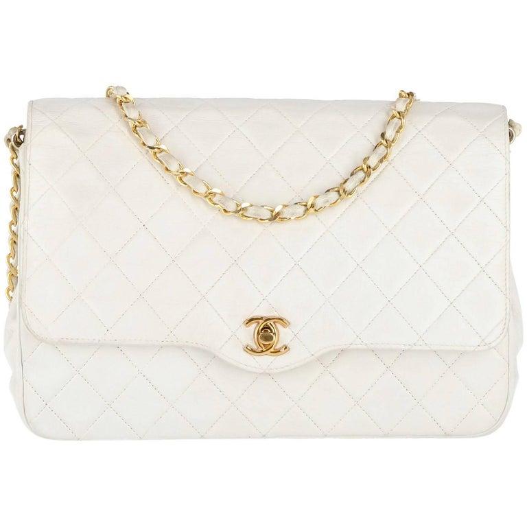 Chanel White Leather Vintage Bag, 1980s