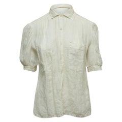 Chanel White Linen Short Sleeve Top