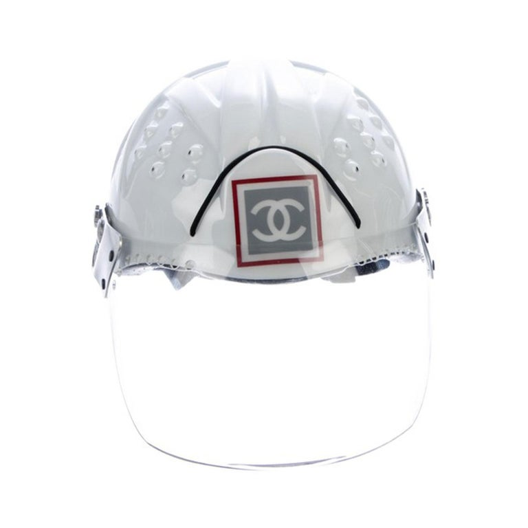 Chanel White Logo Vintage Mountaineer Helmet Limited Edition Novelty Hat In Good Condition For Sale In Miami, FL