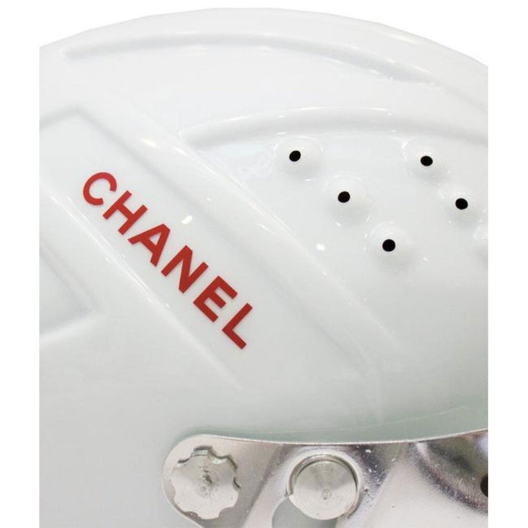Women's or Men's Chanel White Logo Vintage Mountaineer Helmet Limited Edition Novelty Hat For Sale