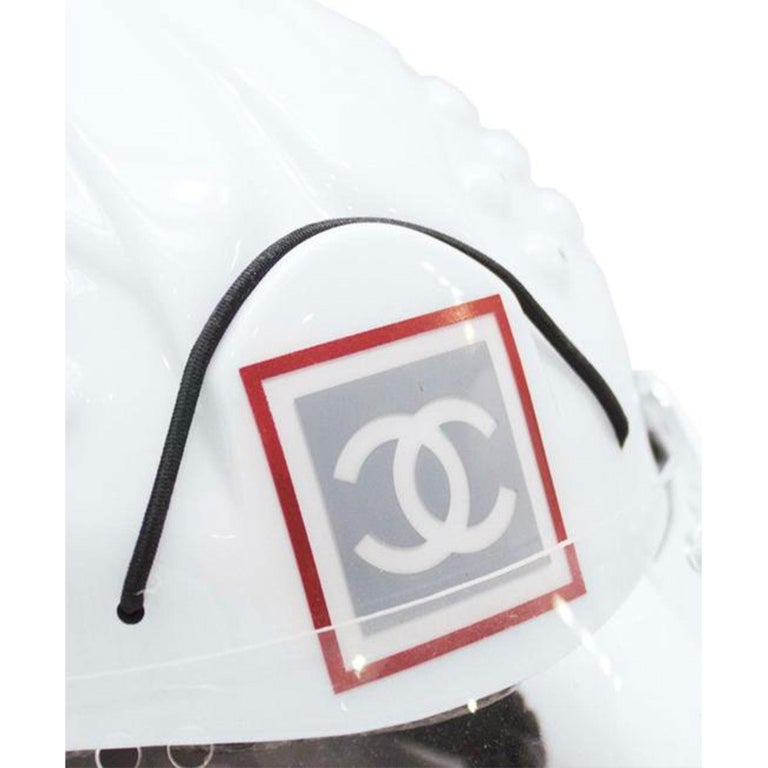 Chanel White Logo Vintage Mountaineer Helmet Limited Edition Novelty Hat For Sale 2