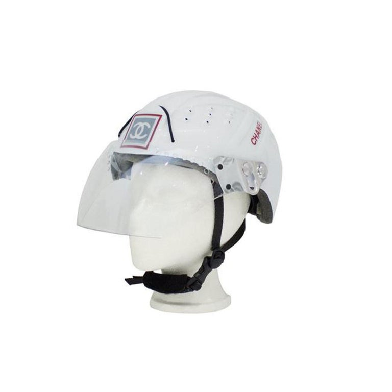 Chanel White Logo Vintage Mountaineer Helmet Limited Edition Novelty Hat For Sale 4