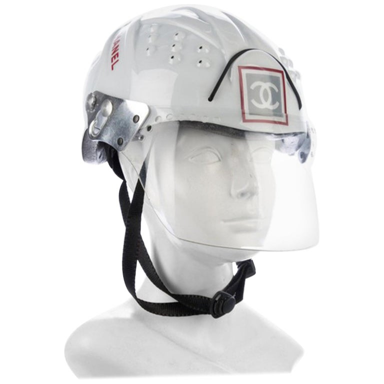 Chanel White Logo Vintage Mountaineer Helmet Limited Edition Novelty Hat For Sale