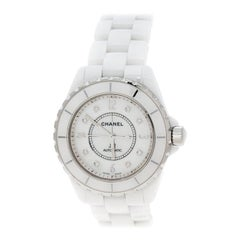 Chanel White Mother of Pearl Ceramic Diamond J12 Unisex Wristwatch 38 mm