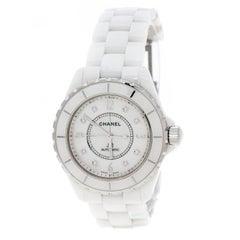 Chanel White Mother of Pearl Ceramic Diamond J12 Unisex Wristwatch 38 mm