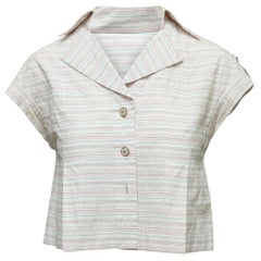 Chanel White & Multicolor Striped Short Sleeve Top