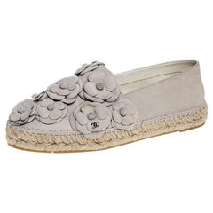 Chanel White Nubuck CC Camellia Espadrilles Size 38