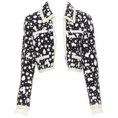 CHANEL white paint splatter black tweed cotton trimmed 4-pocket crop jacket FR40