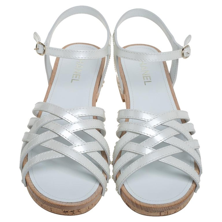 Gray Chanel White Patent Leather Ankle Strap Strappy Cork Flat Sandals Size 40 For Sale
