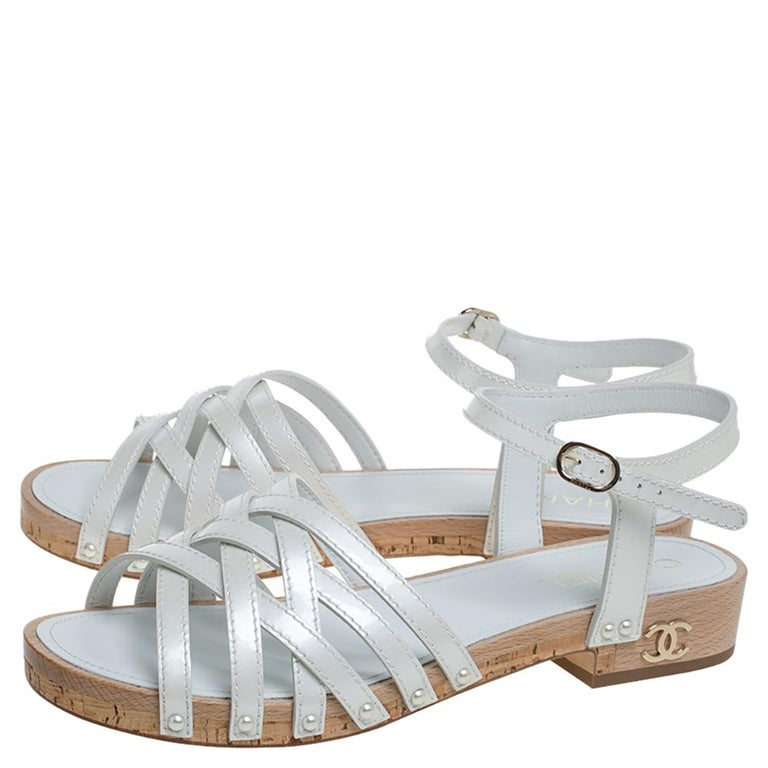 Women's Chanel White Patent Leather Ankle Strap Strappy Cork Flat Sandals Size 40 For Sale