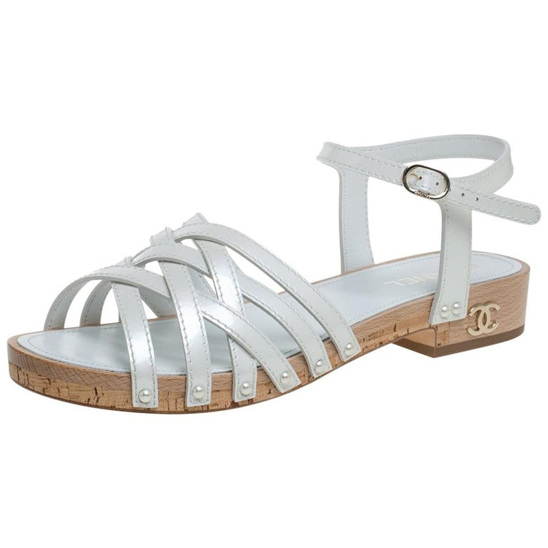 Chanel White Patent Leather Ankle Strap Strappy Cork Flat Sandals Size 40 For Sale