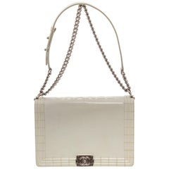 Chanel White Patent Leather Large Boy Bag