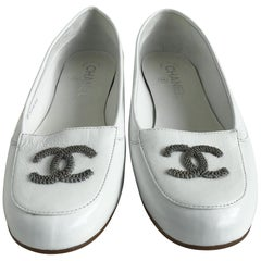 Chanel White Patent Leather Loafers. size 7.5
