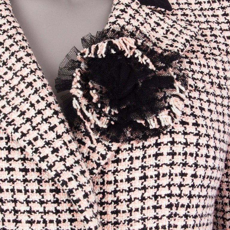 Women's CHANEL white & pink cotton HOUNDSTOOTH Tweed Jacket 38 S For Sale