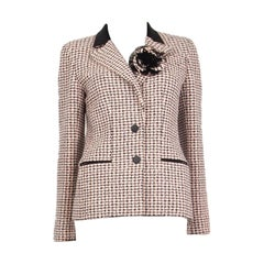 CHANEL white & pink cotton HOUNDSTOOTH Tweed Jacket 38 S
