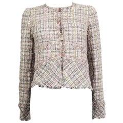 CHANEL white pink viscose FANTASY Tweed Blazer Jacket 36 XS