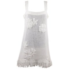Chanel White Pure Cotton Sleeveless Shift Dress with Flowers Size 40