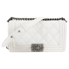 Chanel White Quilt Le Boy Bag Old Medium