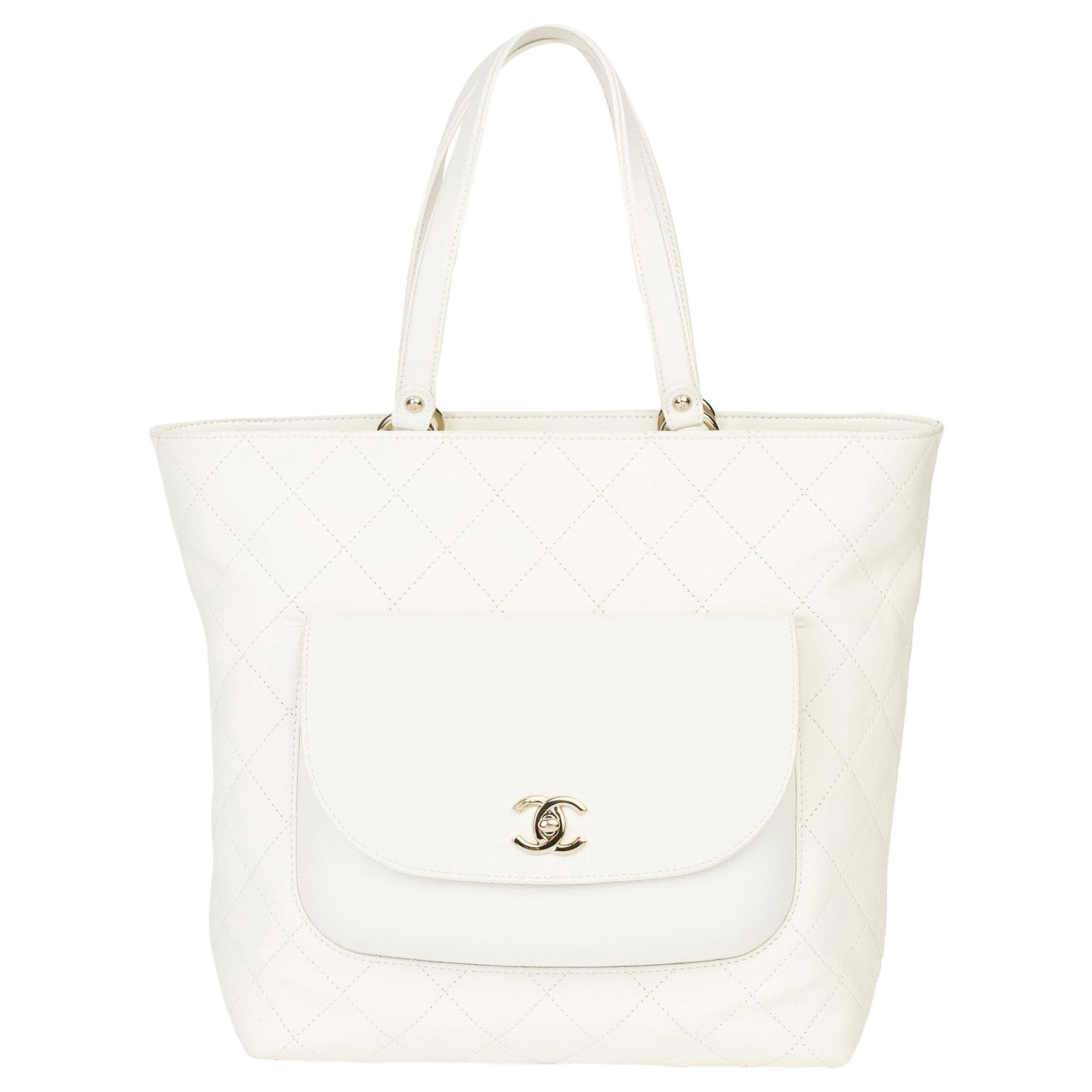 Chanel White Quilted Calfskin & Caviar Leather Classic Tote