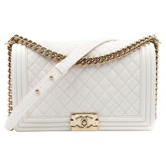 Chanel White Quilted Calfskin Leather Medium Cross Body Boy Bag A92193