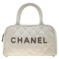 Chanel White Quilted Canvas and Leather CC Boston Bag