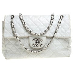 Chanel White Quilted Caviar Leather Maxi Classic Single Flap Bag