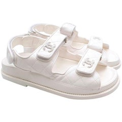 Chanel White Quilted Lambskin Dad Sandals - Size EU 35