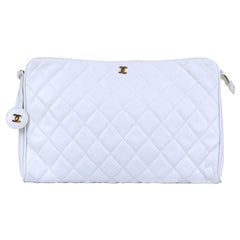 Chanel White Quilted Lambskin Large Clutch Bag by Karl Lagerfeld