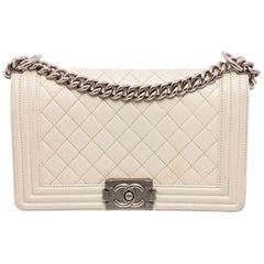 Chanel White Quilted Lambskin Leather Medium Boy Bag