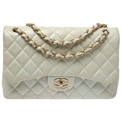 Chanel White Quilted Leather Jumbo Classic Double Flap Bag