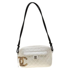 Chanel White Quilted Leather Ligne Cambon Camera Shoulder Bag