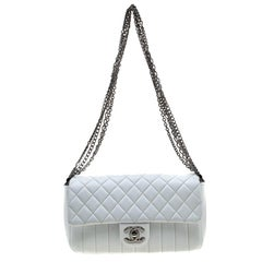 Chanel White Quilted Leather Multi Chain Flap Bag