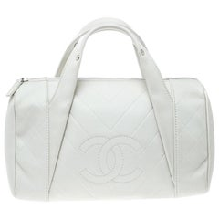 Chanel White Quilted Leather Satchel