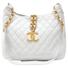 Chanel White Quilted Leather Vintage Structured Hobo