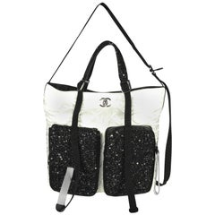 Chanel White Quilted Sateen & Black Tweed Large Shopping Bag