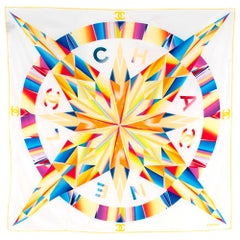 Chanel White/Rainbow Compass Print Square Silk Scarf