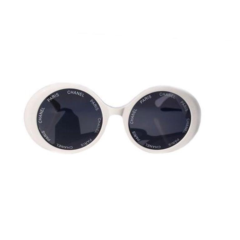 Women's or Men's Chanel White Rare 1993 Spring Summer Runway Vintage Sunglasses For Sale