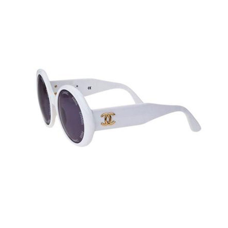 Chanel White Rare 1993 Spring Summer Runway Vintage Sunglasses For Sale 2