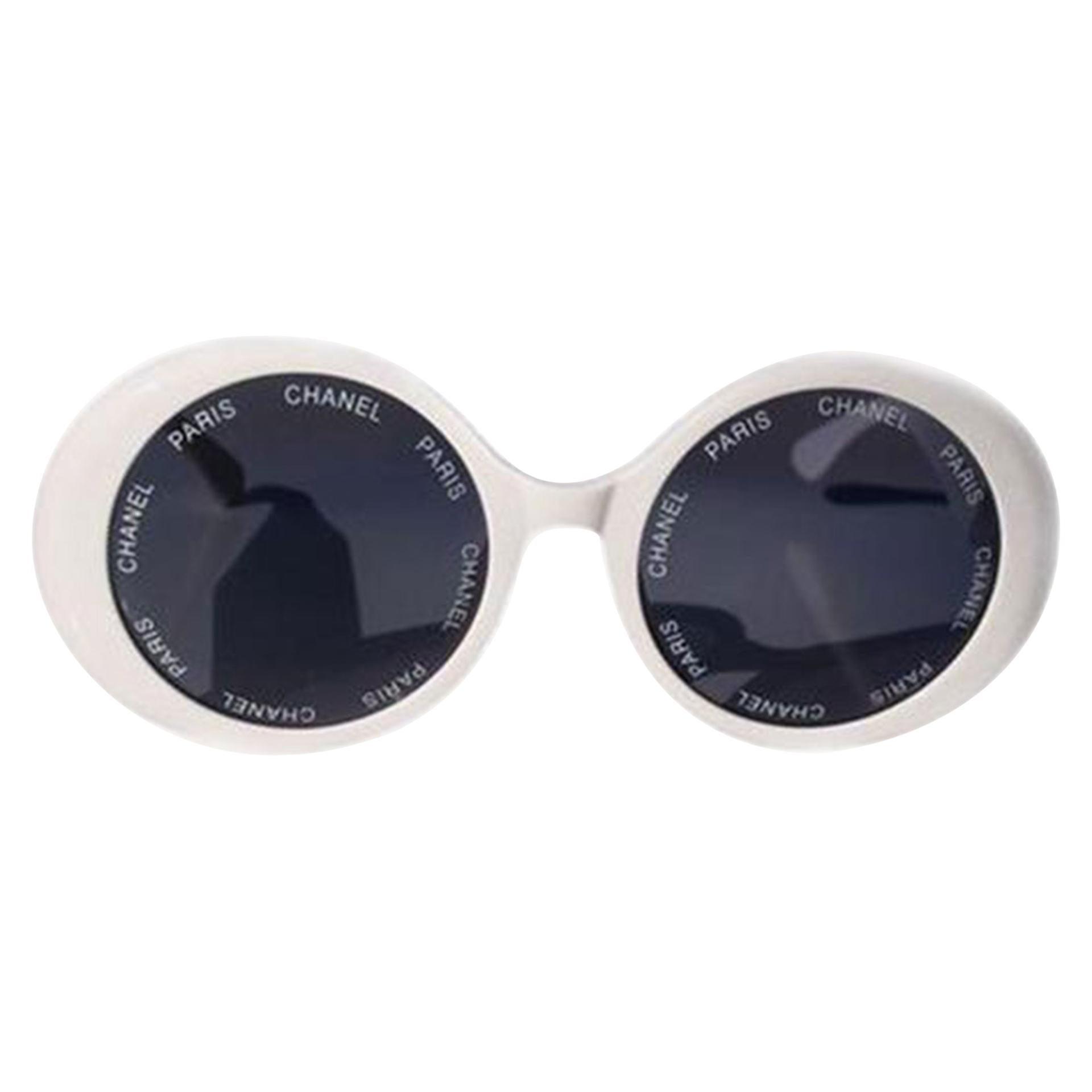 Chanel White Rare 1993 Spring Summer Runway Vintage Sunglasses