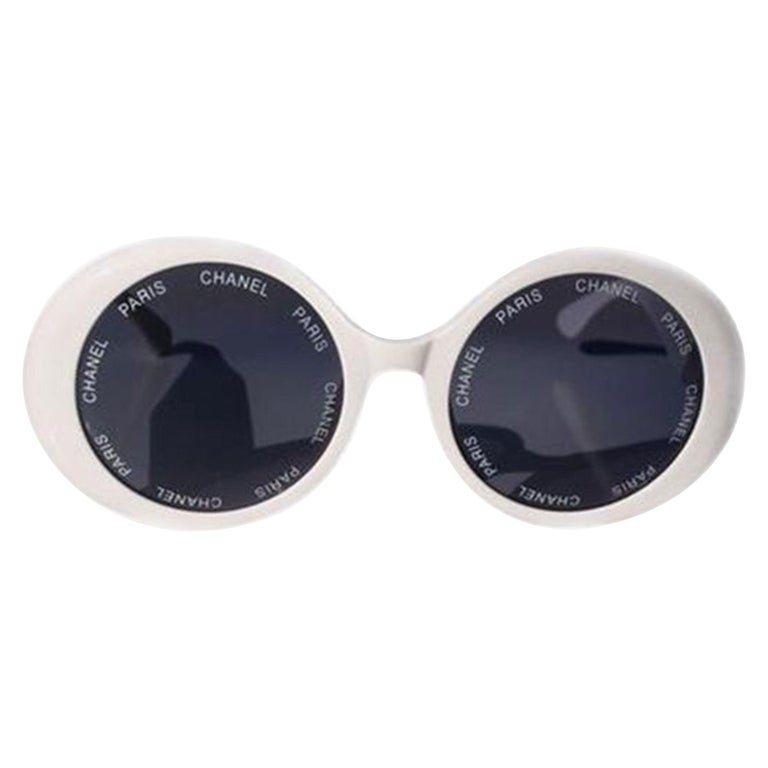 Chanel White Rare 1993 Spring Summer Runway Vintage Sunglasses For Sale