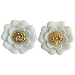 Chanel White Resin Flower Clip on Earrings