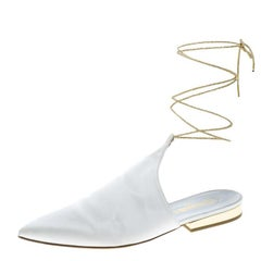 Chanel White Satin Pointed Toe Ankle Wrap Mules Size 39.5