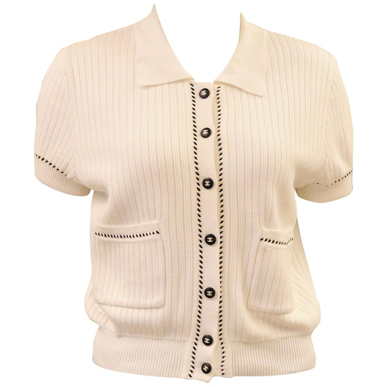 Chanel White Short Sleeves Knitted Cotton Cardigan  For Sale