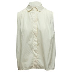 Chanel White Sleeveless Collared Top